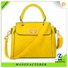wholesale top grain lady shopping bag,yellow shopping bag
