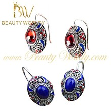handmade exquisite 925 sterling silver garnet & lapis hoop earrings