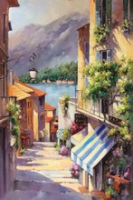 European Beautiful Town Cafe Shop Hand Painted Oil Painting on Canvas Wall Art Decoration