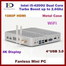 4GB RAM+32G SSD+1T HDD 1920*1080 micro pc mini computer, htpc,Intel i5-4200U CPU desktop pc, Fanless, USB3.0, WiFi, Win 7