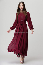New Fashion Lady Simple Long Sleeve Chiffon Dresses autumn winter belted Muslim Plain Color Maxi Long Dresses for woman