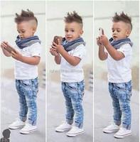 2015 summer boys denim clothing sets kids boys handsome short-sleeved T-shirt+denim jeans+scarf 3 pieces children clothing set