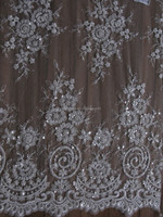 Allover Beaded and sequin Lace with white cord Net Embroidered Fabric Birdal Lace