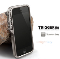 For iphone 4 4s 5 5s Trigger Metal Frame bumper Tactical Aluminum Protective case cover with Screen Film
