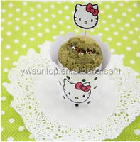 2015 hot sale kitty cupcake wrappers & toppers picks decoration baby shower favors birthday party supplies