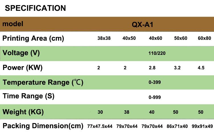 QX-A1 t-shirt Manual da imprensa do calor da máquina