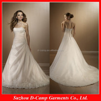 WD-251 Strapless beaded embroidery asymmetrical draping latest back out wedding gowns 2013