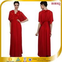 New Red Appliqued Batwing Sleeve Elegant Long Formal Evening Dress 2015