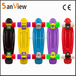 High quality 22 inch fiberglass skateboard with led wheels