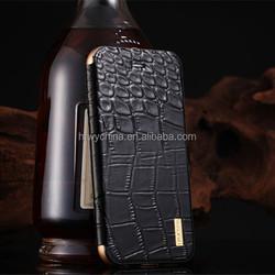 2015 iMatch luxury metal aluminium genuine leather flip cover case for iPhone 6