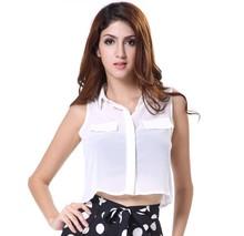 Summer Front Shorter Back Longer White Simple Chiffon Lady Shirt Blouses
