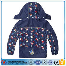 Cute printed PU waterproof safety rain jacket fabric for kids with pants