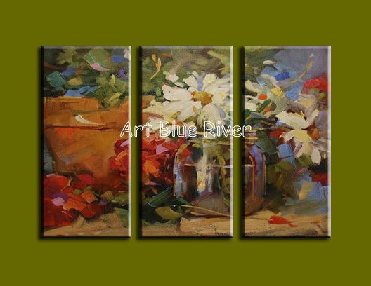 Buy 3 piece Muti panel abstract modern canvas wall art Knife White Floral picture oil painting canvas home decoration living room cheap