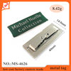 silver prongs metal and logo nameplate labels