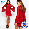 clothing manufacturer bell sleeve dress for women red lace dress for elegant women
