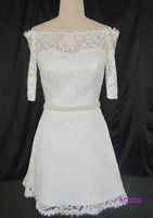 2016 guangzhou mini short length elbow sleeves french lace wedding bridal gowns