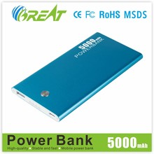 Aluminum alloy wholesale usb travel slim power bank 5000 mAh portable battery charger For mobile phone can custom logo