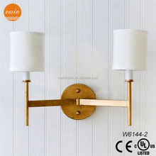 New design E14 iron wall mounted lamp, 2 lights antique wall lamp with shades with UL/CE