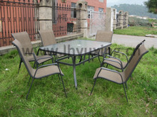 wholesale patio sling chair and table furniture set metal frame garden sling furniture