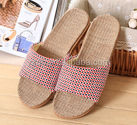 Hot selling comfort and soft summer indoor linen slippers