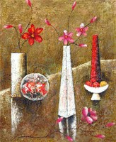 New Still Life Tableware Flowers Oil Painting Picture Art Wall