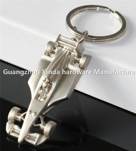 3D design Creative Car Metal Craft Gift Racing Car Shape Keychain Silver Key Ring Chain