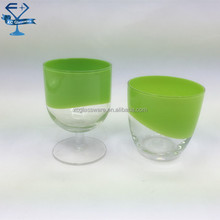 hand painted colored shot wine glass and shot tumbler glass