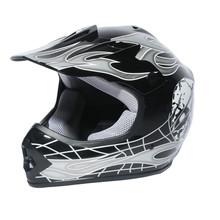 Youth Black/Silver Skull Dirt Bike ATV Motocross Helmet Goggles+gloves S M L New