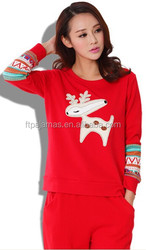 women cute Xmas deer cartoon embroidery casual suit
