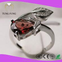 Garnet 925 adjustable sterling silver rings for womens