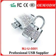 Paypal accept,jewelry lock usb flash memory with necklace,Closed Diamond Padlock USB Flash Drive