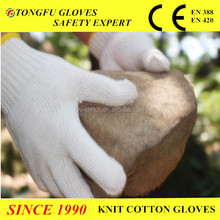 7 gauge knitted cotton gloves falconry gloves White cotton hand gloves working gloves cotton glove