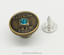 custom brass button with blue acrylic rhinestone removable shank button