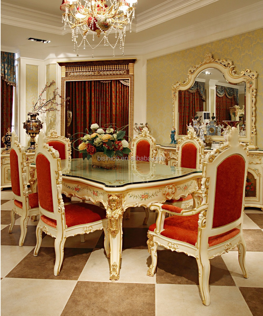 Luxury French Rococo Style Angel Dining Table Set Antique