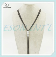 2015 Hotsale Gun Black Color Long Layered Chain Three Alloy Beads Chain Necklace