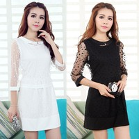 Korean Stylish Women New Fashion Two Pieces Polka Dot office dress And Tops Blouse SV015598