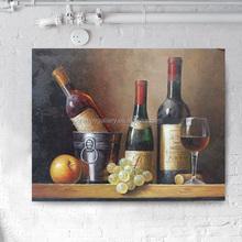 wine bottle art fruit oil painting