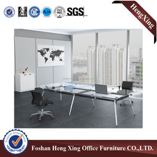 Latest design with Aluminum legs tempered glass conference table HX-NJ5126