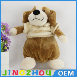 kids favored soft plush dog toy,standing cute dressed dog plush toy,wear clothes stuffed dog toy