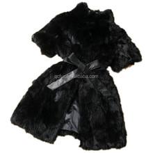 QC2161-5 black women natural real patchwork rabbit fur coat waistcoat jacket with leather belt