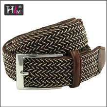Trending hot products 2015 Italy Italian elastic braided belt giants with Brown leatherr Tabs