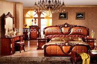 Deluxe Genuine Leather Bedroom Furniture Set, Classic Design Wood Carved Bed,Golden Furniture Bedroom Set
