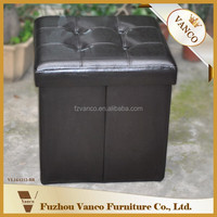 PU Leather Foldable Storage Wooden Ottoman For Shoes