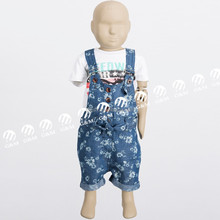 2015 manufacture OEM supply customized new baby clothing floral print with belt and sliders baby girls denim shortall