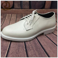 Fashion leather white police officer shoes with shoeslaces for man