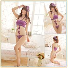 women sexy lingerie teddy tube tops halter crochet underwear jumpsuits purple bow