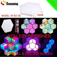 2015 New 3D Magic DIY Design Hexagon Led Wall Screen