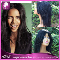 Natural black human hair wig with glueless free part 7A Full lace human Brazilian hair wigs
