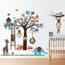 2015 new owl monkey tree squirrel kids wall stickers room nursery trade wholesale wall stickers removable Wall Sticker