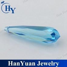 Gemstone large size aquamarine cz with 1mm drill hole